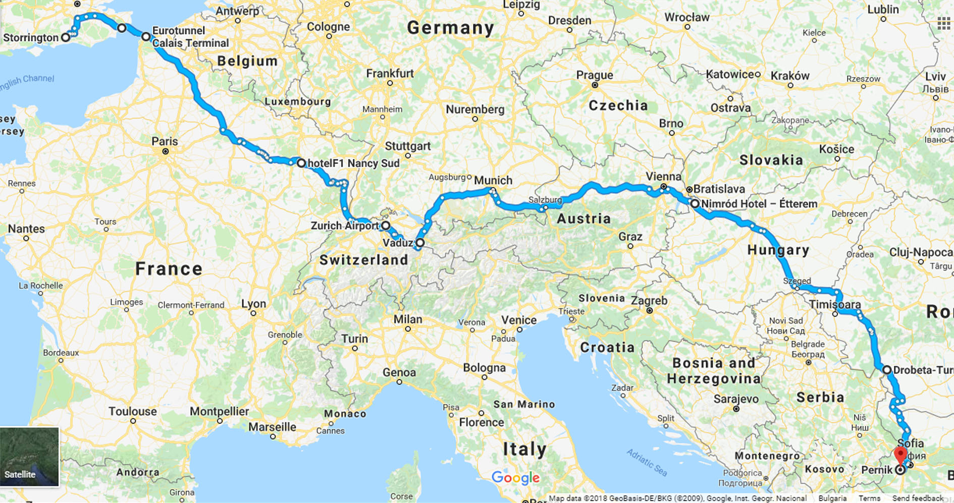Our route to Bulgaria