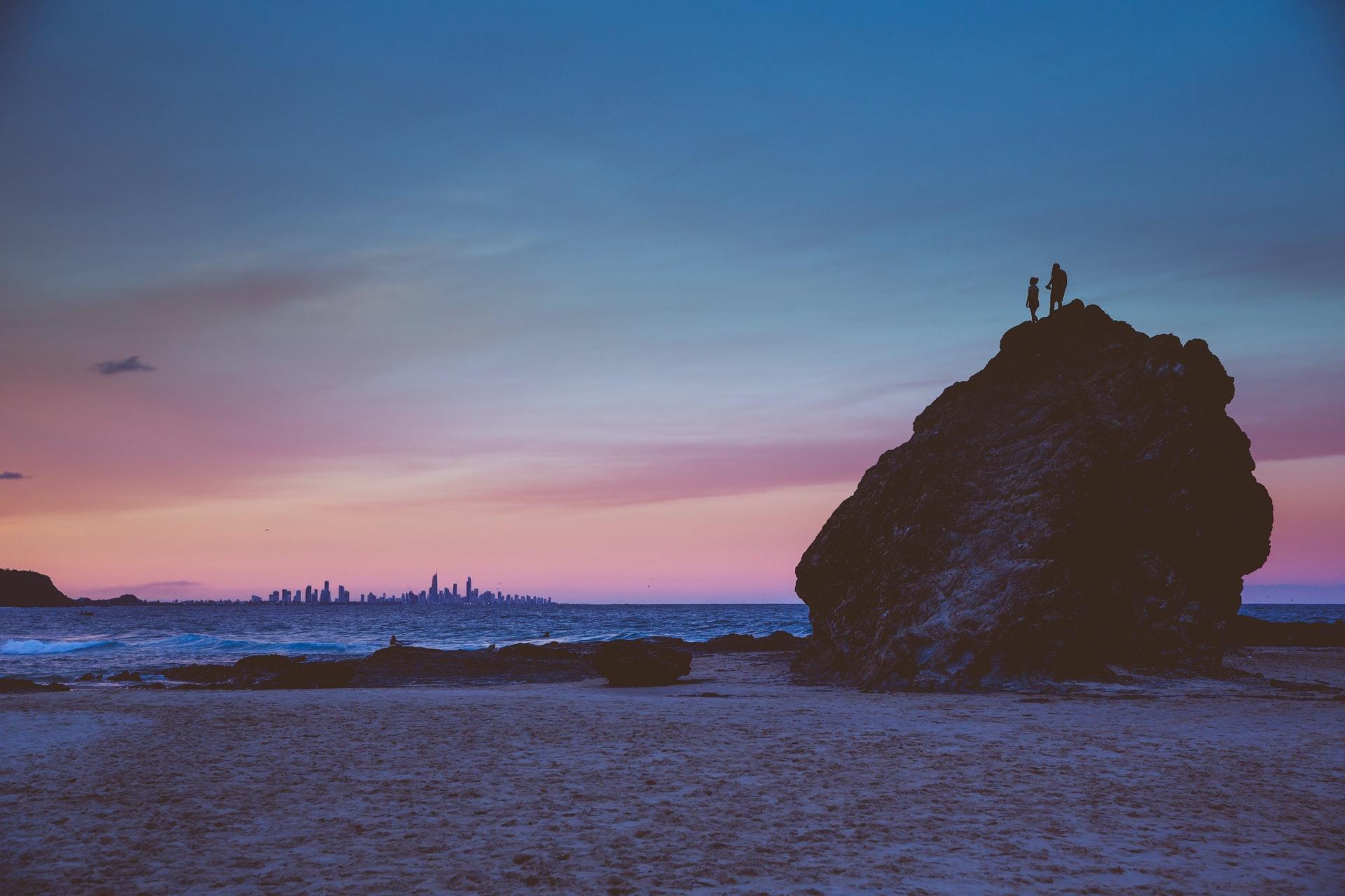 currumbin rock at sunset