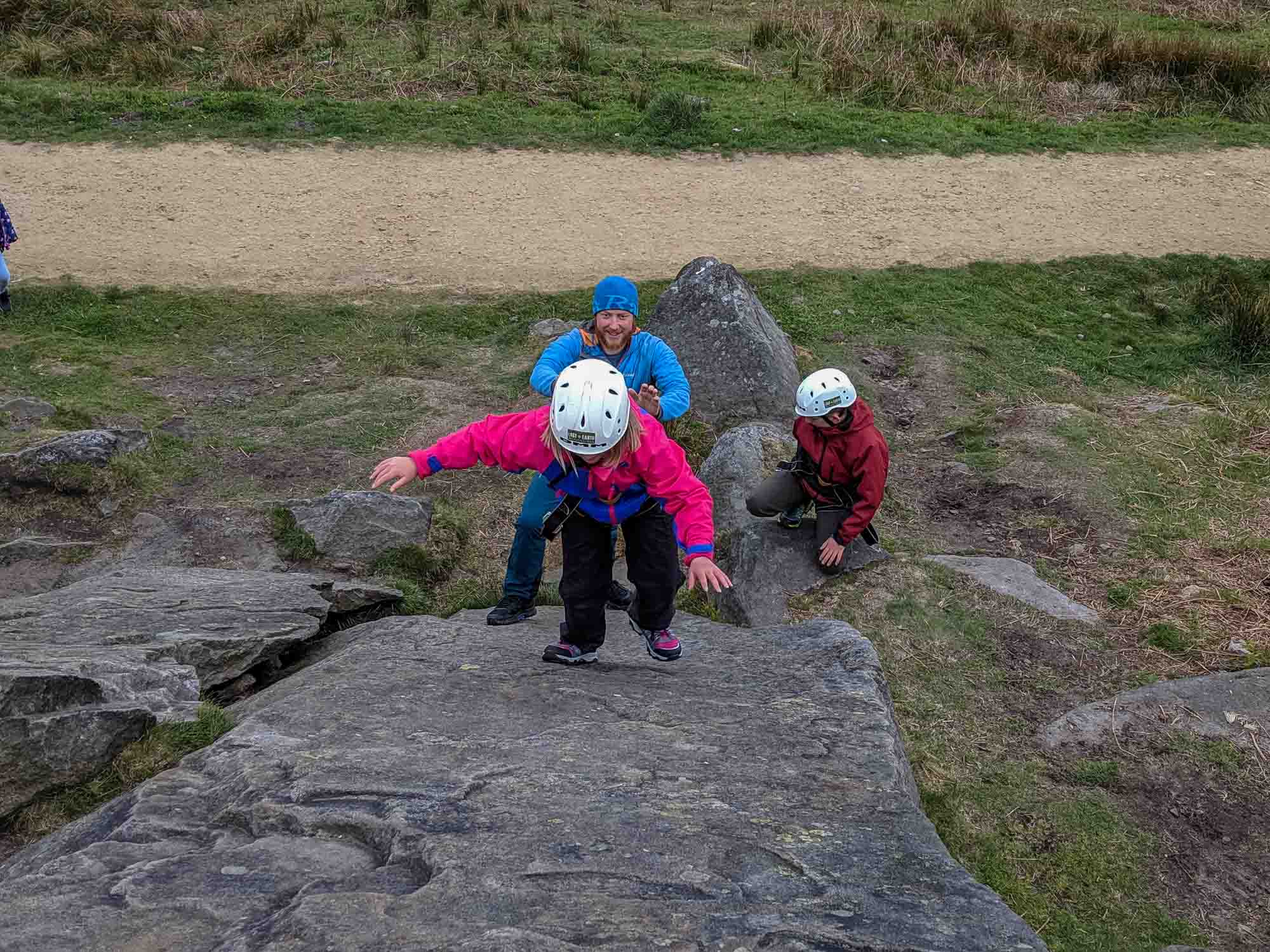 Learning how to smear at Burbage Rocks