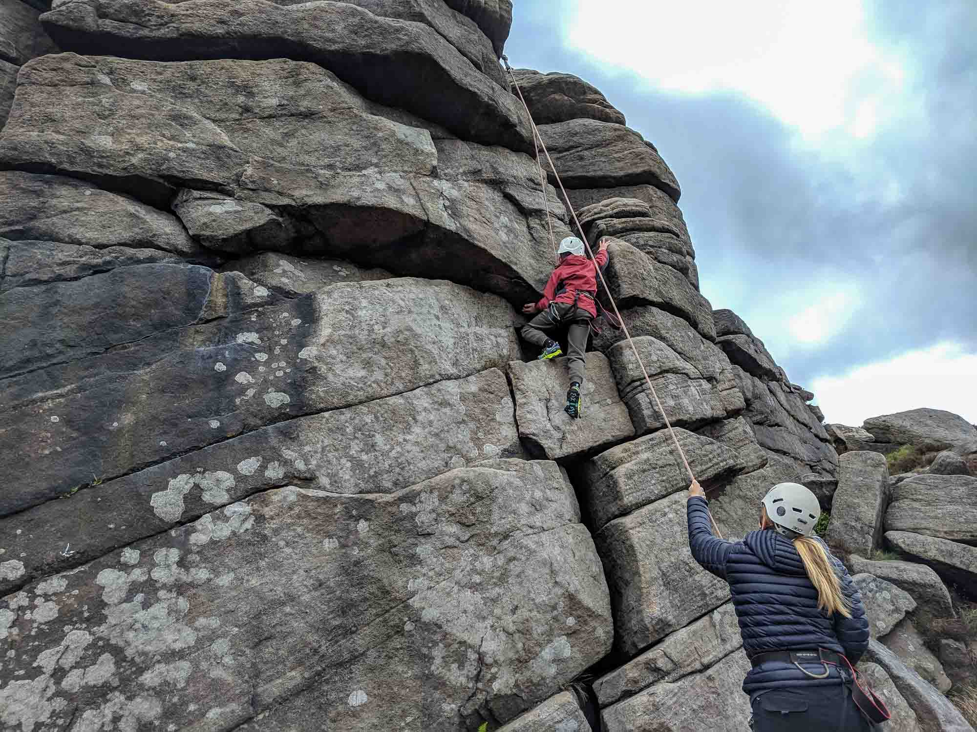 rock climbing at Burbage Rocks