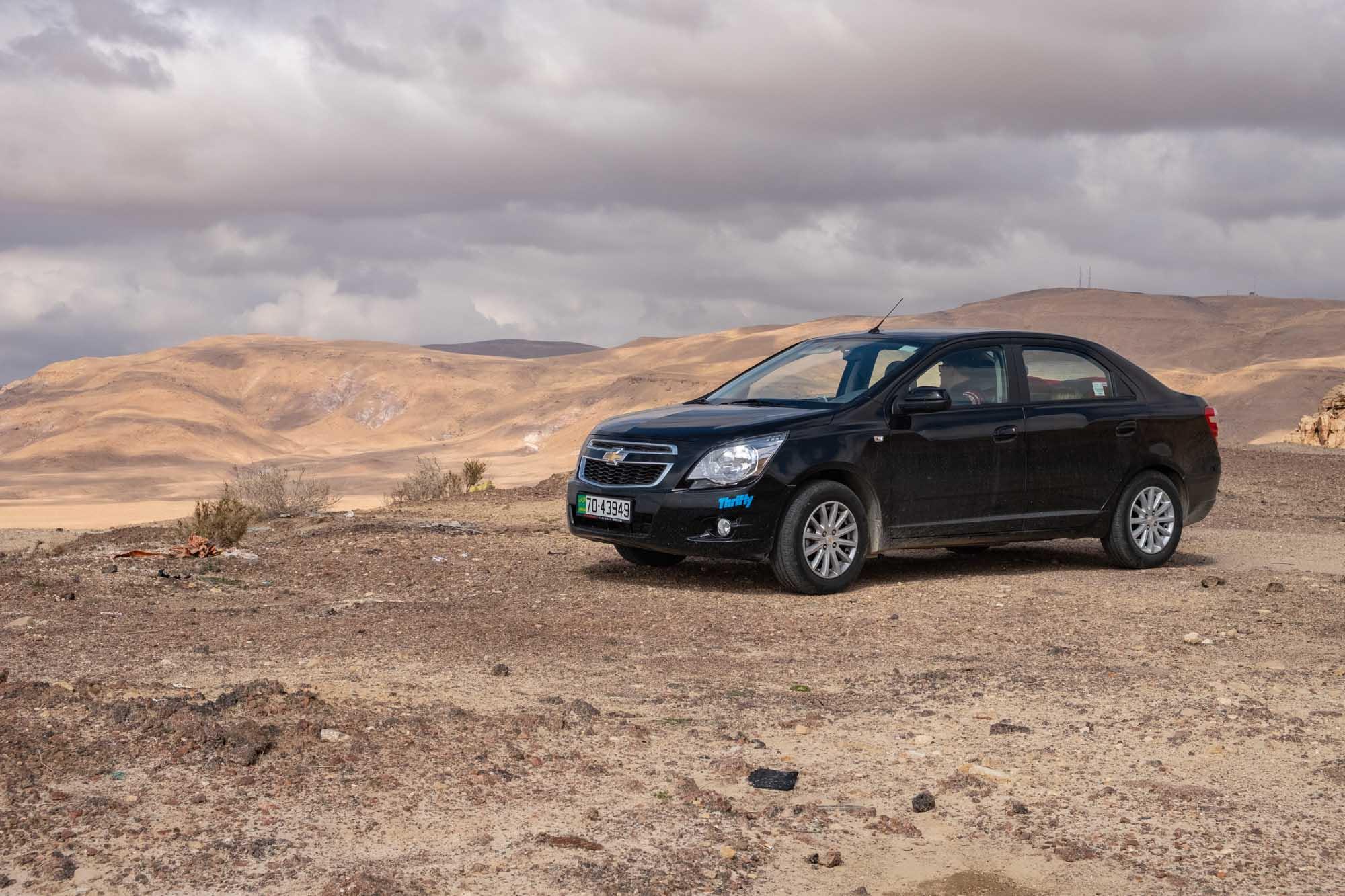 Our hire car near Wadi Mujib
