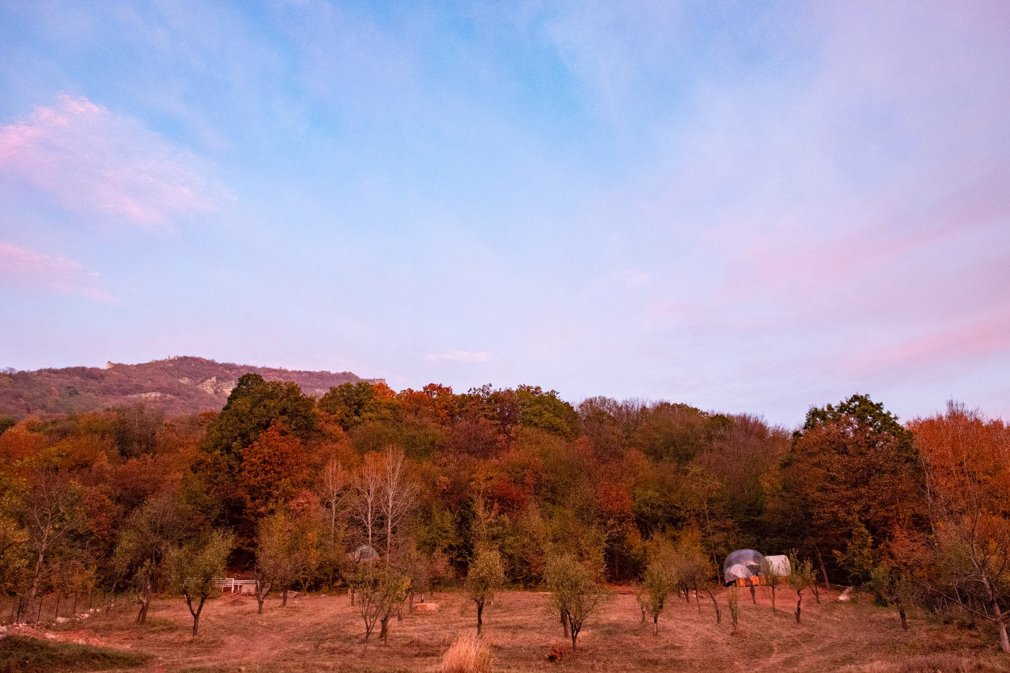 mountains of vratsa, bubble tent in autumn
