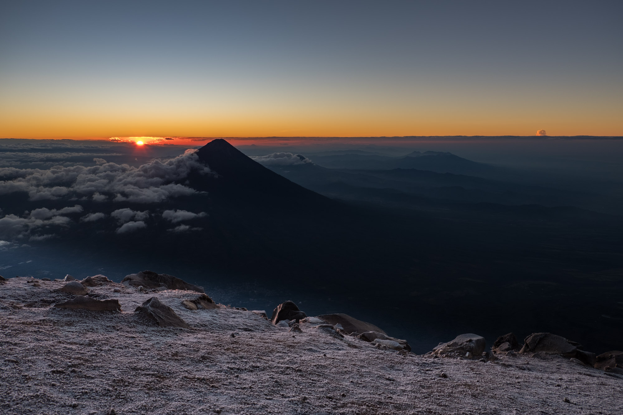 The sun rising over Volcan Agua.