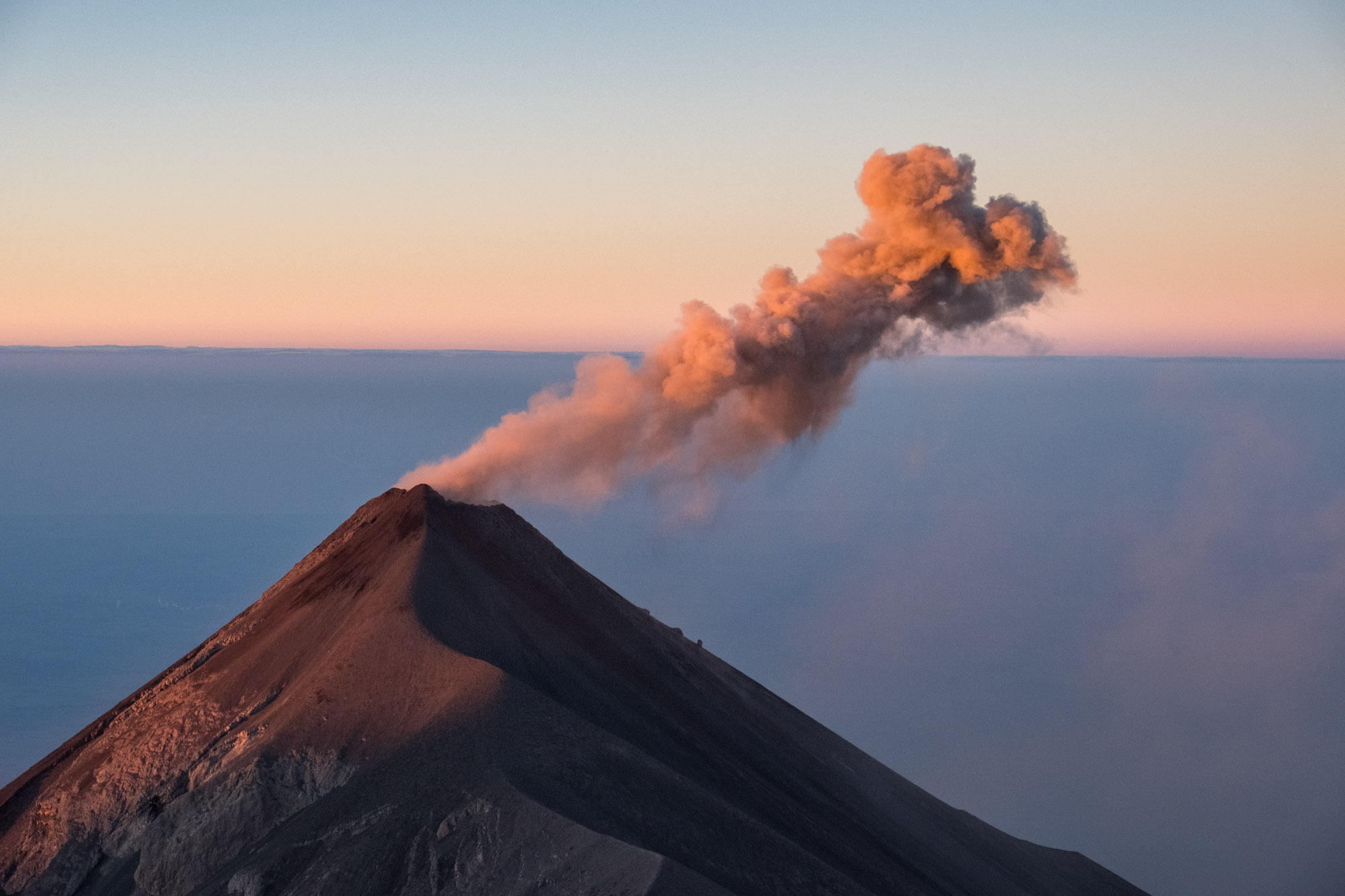 Fuego Volcan at sun rise