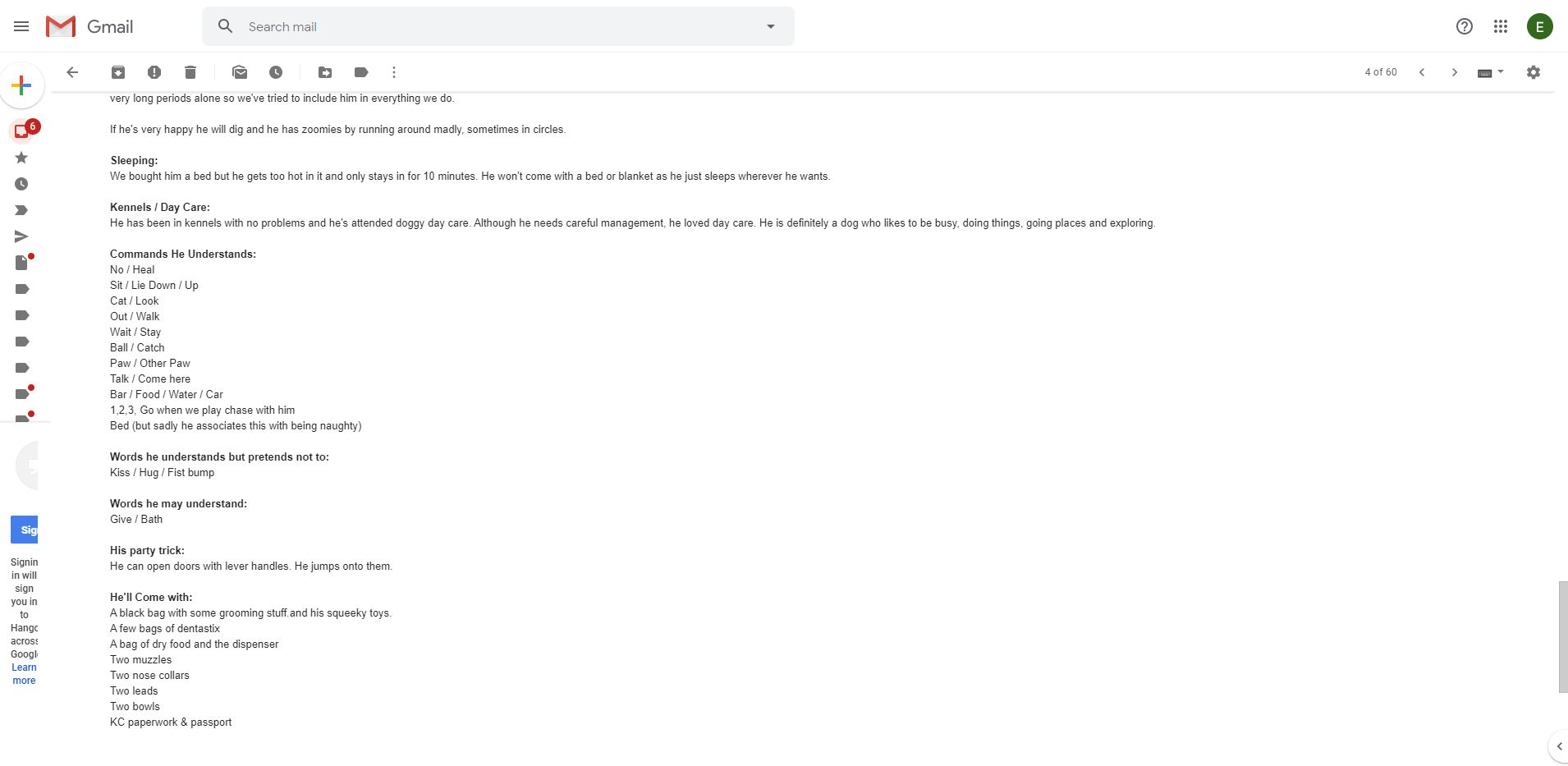 Email to SSDR