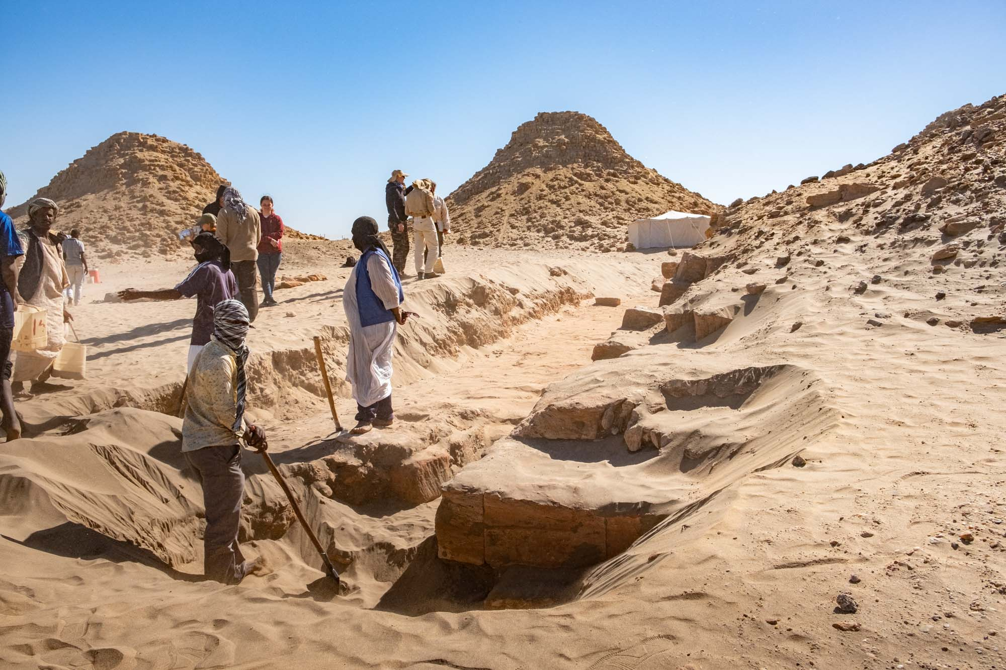 Archaeological Team at Nuri Pyramids