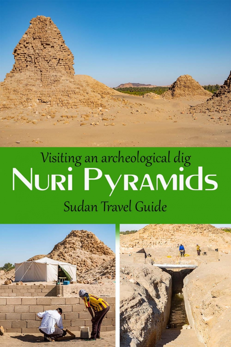 Visiting the Nuri Pyramids archealogical dig with kids in Sudan.