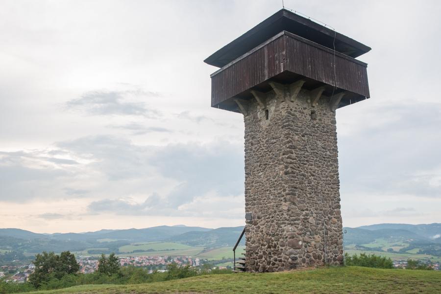 Climbing the Krupina Watch Tower, Vartovka, Slovakia.