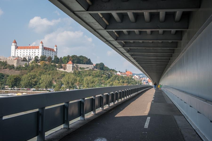 Climbing the UFO tower, Bratislava