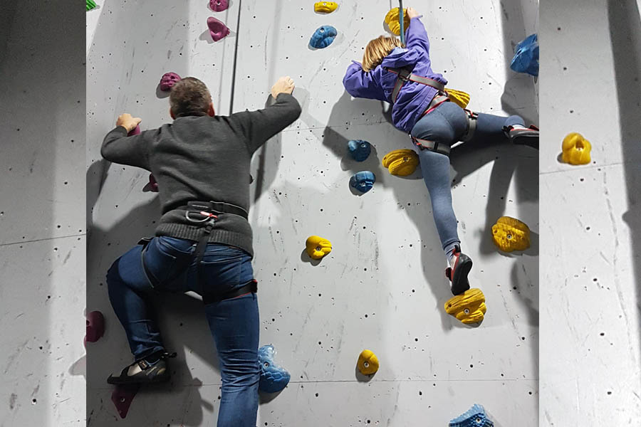 Learning the ropes; HighBall Climbing Centre, Norwich.